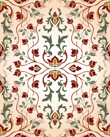 Illustration for Romantic, floral ornament. Template for oriental carpet, textile, shawl and any surface. Seamless vector  vintage pattern of elegant tracery on a beige background. - Royalty Free Image