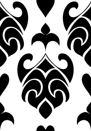 Oriental Abstract Pattern Black And White Template For Carpet Wallpaper Textile And Any Surface Seamless Simple Ornament Royalty Free Vector Graphics