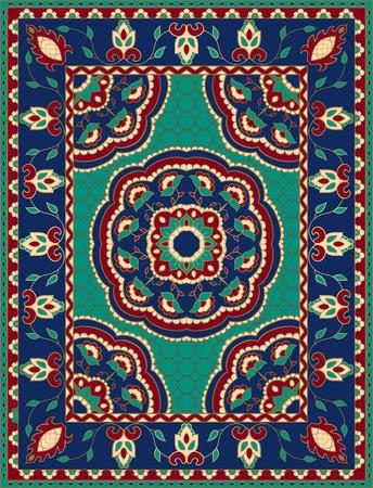 Illustration pour Colorful template with mandalas for carpet, textile. Oriental floral pattern with frame. - image libre de droit