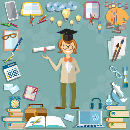 Back to school student education school subjects textbooks notebooks learning lessons teacher calculator tools microscope computer learn university college vector illustration