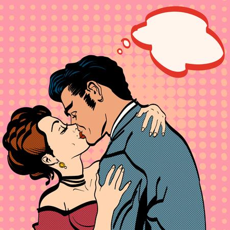 Foto de Lovers kissing, man kisses woman romantic hug  - Imagen libre de derechos