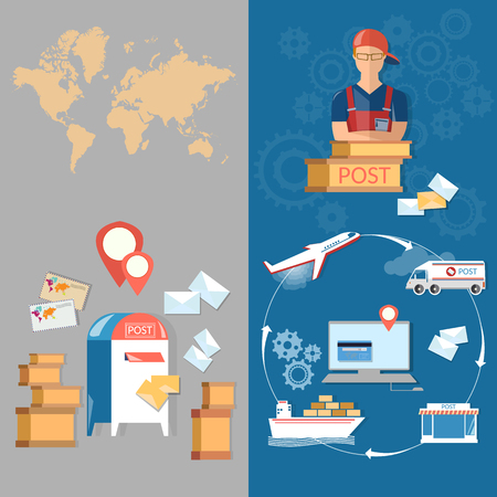 Postal delivery post office banners service postman mail delivery letters and parcels vector