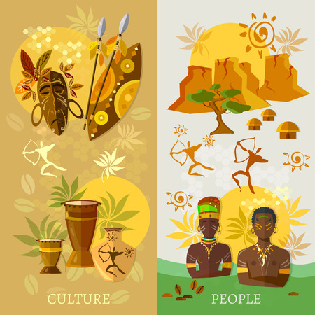Illustration pour African banner Africa culture and traditions ancient tribes of Africa vector illustration - image libre de droit