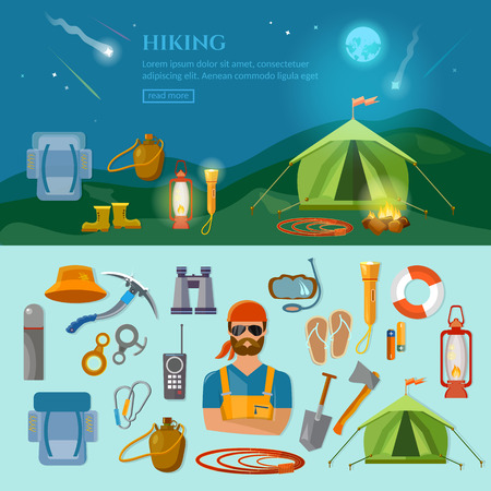 Camping hiking extreme sports vector flat background and objects illustrations