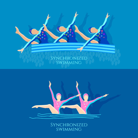 Synchronized swimming banner girls team athletes vector illustration