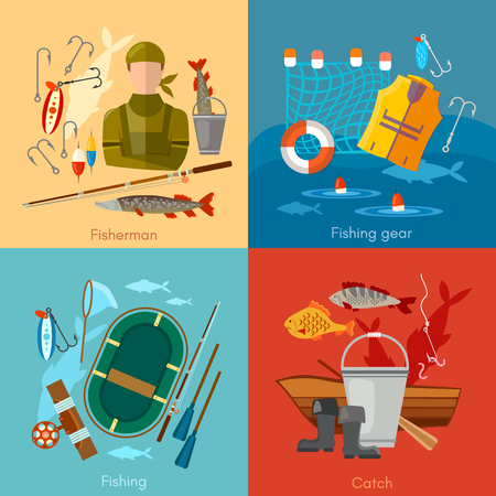 Professional fishing icon set fishing rod, hooks, boat, fish, worms, flat illustration