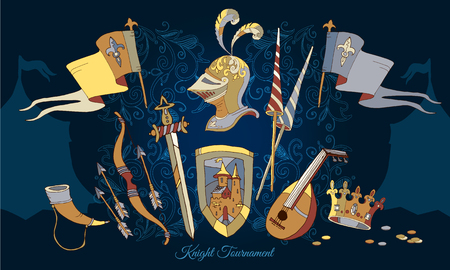 Knight Tournament medieval frame vector