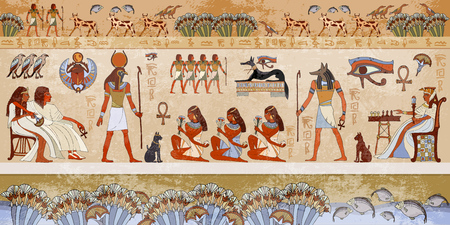 Illustration pour Ancient egypt scene. Hieroglyphic carvings on the exterior walls of an ancient egyptian temple. Grunge ancient Egypt background. Hand drawn Egyptian gods and pharaohs. Murals ancient Egypt. - image libre de droit