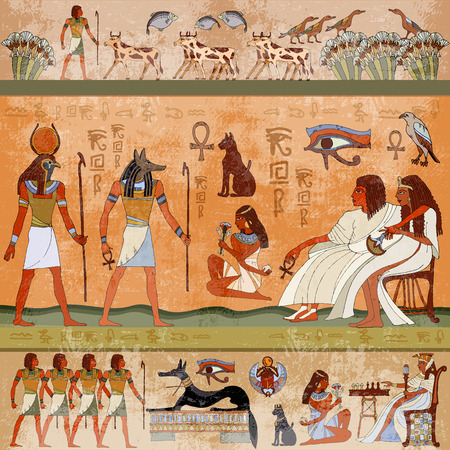 Illustration pour Ancient egypt scene. Murals ancient Egypt. Hieroglyphic carvings on the exterior walls of an ancient egyptian temple. Grunge ancient Egypt background. Hand drawn Egyptian gods and pharaohs. - image libre de droit