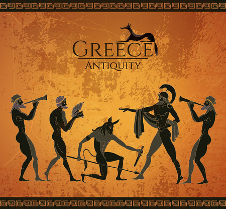 Illustration pour Ancient Greece scene. Black figure pottery. Hunting for a Minotaur, gods, fighter. Classical Ancient Greek style - image libre de droit