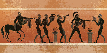 Illustration pour Ancient Greece scene. Black figure pottery. Ancient Greek mythology. Centaur, people, gods of an Olympus. Classical Ancient Greek style - image libre de droit