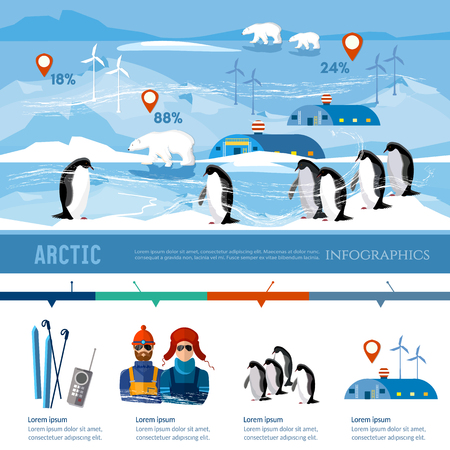 Travel to Antarctica infographics. Scientific station on North Pole. Fauna of Antarctic polar bear penguins. Scientific polar explorers template design