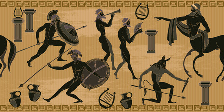 Illustration pour Ancient Greece scene seamless pattern. Black figure pottery. Ancient Greek mythology. Centaur, people, gods of an Olympus. Classical Ancient Greek style seamless background - image libre de droit
