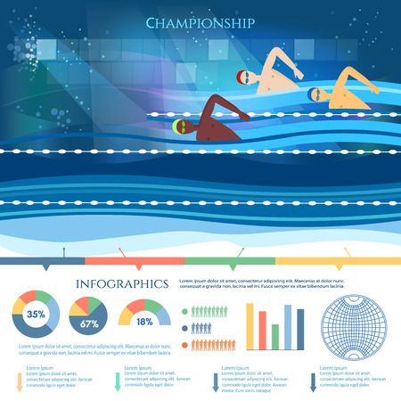 Swimming competition infographic professional water sports.