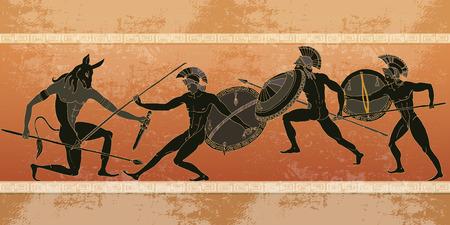 Illustration pour Ancient Greece banner. Black figure pottery. Hunting for a Minotaur, gods, fighter. Classical Ancient Greek style - image libre de droit