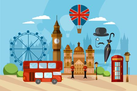 Illustration pour London City Skyline, London United Kingdom. Travel and tourism background. - image libre de droit