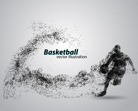 Illustration pour Basketball player from particles. Background and text on a separate layer, color can be changed in one click. Basketball abstract - image libre de droit