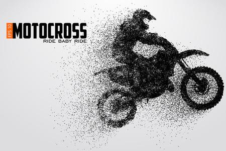 Illustration pour Motocross drivers silhouette vector illustration - image libre de droit