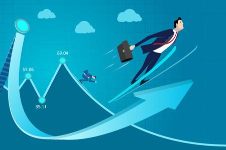 Illustration pour Business man concept vector illustration. Rating, experience, skill income, profit, success, progress up - image libre de droit