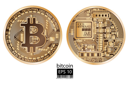 Illustration for Physical bitcoin vector illustration. - Royalty Free Image