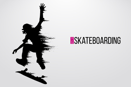Illustration pour Silhouette of a skateboarder. Background and text on a separate layer, color can be changed in one click. Vector illustration - image libre de droit