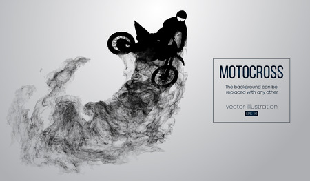 Illustration for Abstract silhouette of a motocross rider on white background from particles, dust, smoke, steam. Motocross rider jumping and performs a trick. Background can be changed to any other. Vector - Royalty Free Image