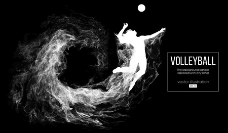 Illustration pour Abstract silhouette of a volleyball player woman on dark, black background from particles. Volleyball player is jumping and kicks the ball. Background can be changed to any other. Vector illustration - image libre de droit