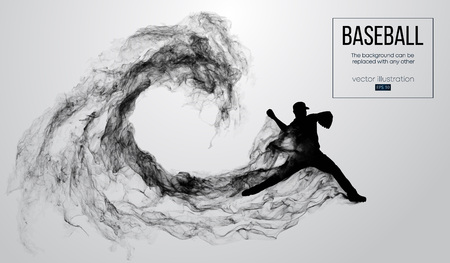 Illustration pour Abstract silhouette of a baseball player pitcher on white background from particles, smoke. Baseball player pitcher throws the ball . Background can be changed to any other. Vector illustration - image libre de droit