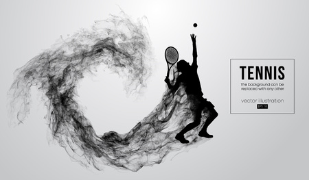 Ilustración de Abstract silhouette of a tennis player man male isolated on white background from particles dust, smoke, steam. Tennis player hits the ball. Background can be changed to any other. Vector illustration - Imagen libre de derechos