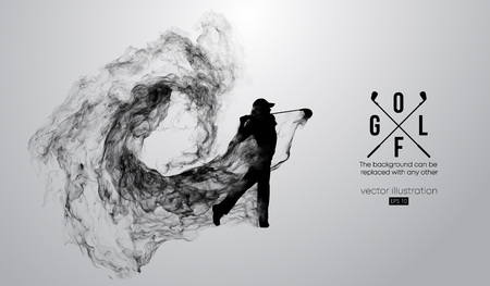 Ilustración de Abstract silhouette of a golf player, golfer on the white background from particles, dust, smoke, steam. Golfer kicks the ball. Background can be changed to any other. Vector illustration - Imagen libre de derechos