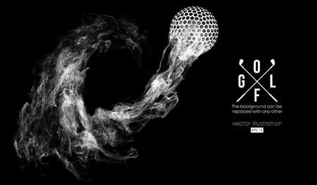 Ilustración de Abstract silhouette of a golf ball on the dark, black background from particles, dust, smoke, steam. Golf player, golfer. Background can be changed to any other. Vector illustration - Imagen libre de derechos