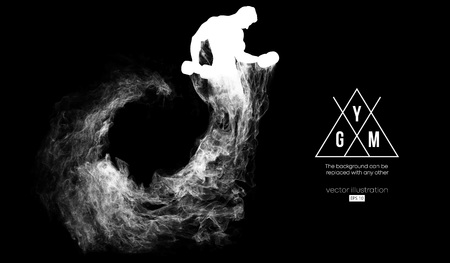 Photo for Abstract silhouette of a bodybuilder. gym logo on the dark, black background from particles, dust, smoke, steam. Bodybuilder training. Background can be changed to any other. Vector illustration - Royalty Free Image