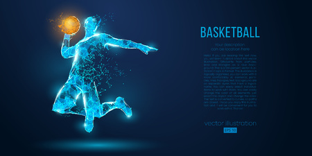 Photo for Abstract basketball player from particles, lines and triangles on blue background. Low poly neon wireframe outline - Royalty Free Image