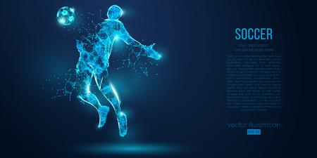Ilustración de Abstract soccer player, footballer from particles on blue background. Low poly neon wireframe outline football player - Imagen libre de derechos