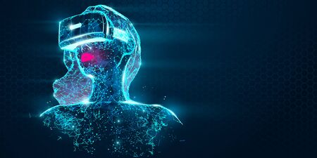 VR online shopping. Polygonal woman, girl wearing virtual reality glasses, helmet. VR headset holographic low poly wireframe vector banner. A woman buys a goods and product in one click. Neon vector