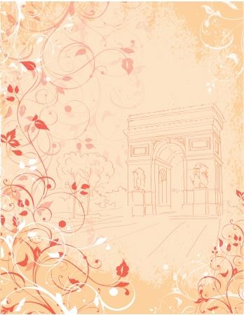 background Arc de Triomphe,  Triumphal arch, Paris, France