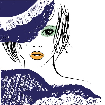 girl with a fashionable hairstyle in a lace hat, fashion illustration