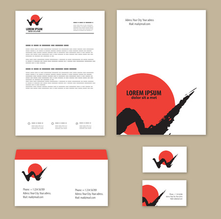 corporate Identity mountains and sun. Mountain - letter W