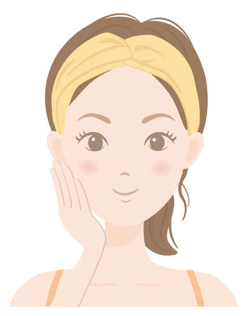 Illustration pour The face of a woman who is caring for her skin - image libre de droit