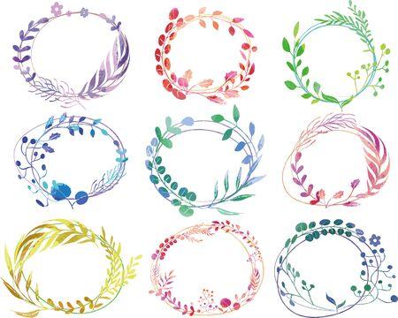 Illustration pour Watercolor botanical wreath-style decoration frame - image libre de droit