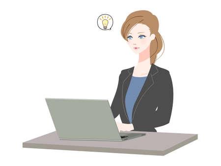 Illustration pour Illustration of a business woman using a personal computer - image libre de droit