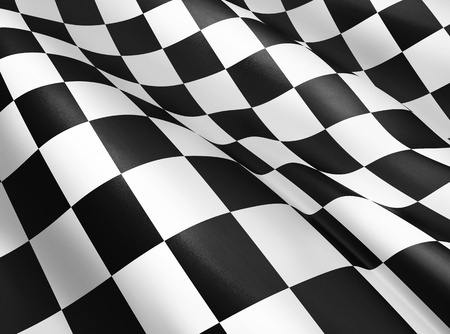 Black and white checkered flag background, start and finish flag, sport and race theme, wavy cloth and textile, victory lap symbol