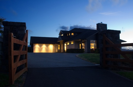 A modern house exterior at night