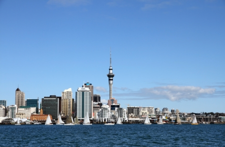 Yachts racing past Auckland City and Skytower on a clear sunny day, New Zealand