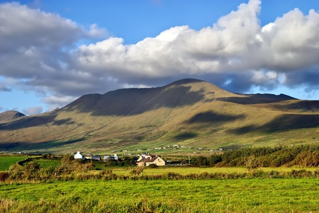 beautiful cloudy mountain landscape on Dingle peninsula, Ireland