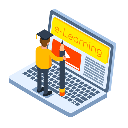 Online education concept. Isometric vector illustration in flat style.