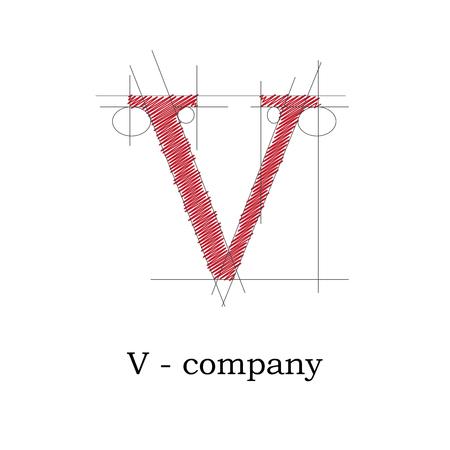 Vector sign design letter V