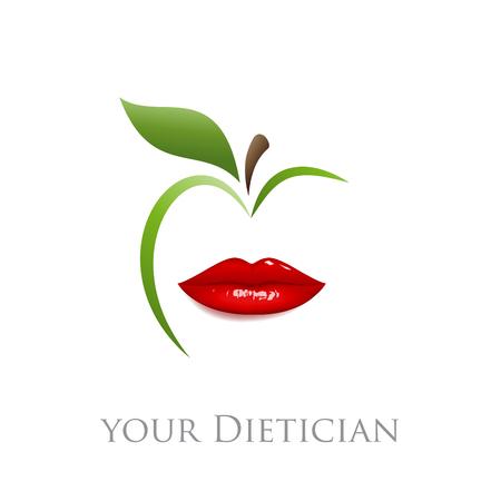Vektor für Vector sign diet, dietician. Mouth and green apple - Lizenzfreies Bild