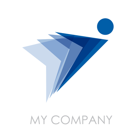 Illustration pour Vector sign Man in flight - image libre de droit