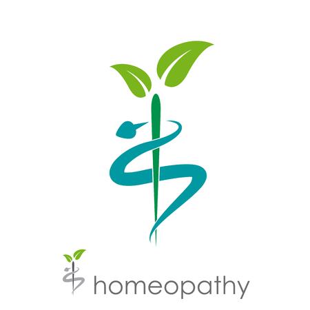 Vektor für Vector sign homeopathy, alternative medicine - Lizenzfreies Bild